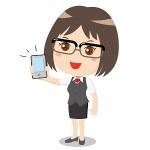 スマートフォンを持っている眼鏡をかけた若い女性
