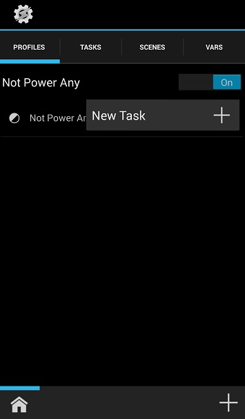 Taskerの新規タスク設定操作