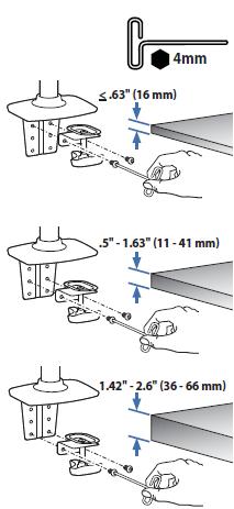 エルゴトロン 45-248-026(デュアル スタッキング)モニターアームのクランプ部の調整幅を示した図