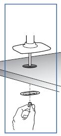 エルゴトロン 45-248-026(デュアル スタッキング)モニターアームのグロメットによる設置方法を示した図