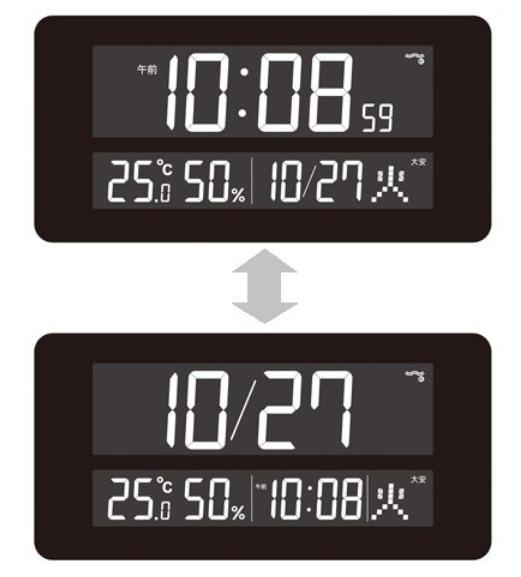 SEIKO DL208Wの時計メイン表示と日付メイン表示の切り替えの様子を示した図