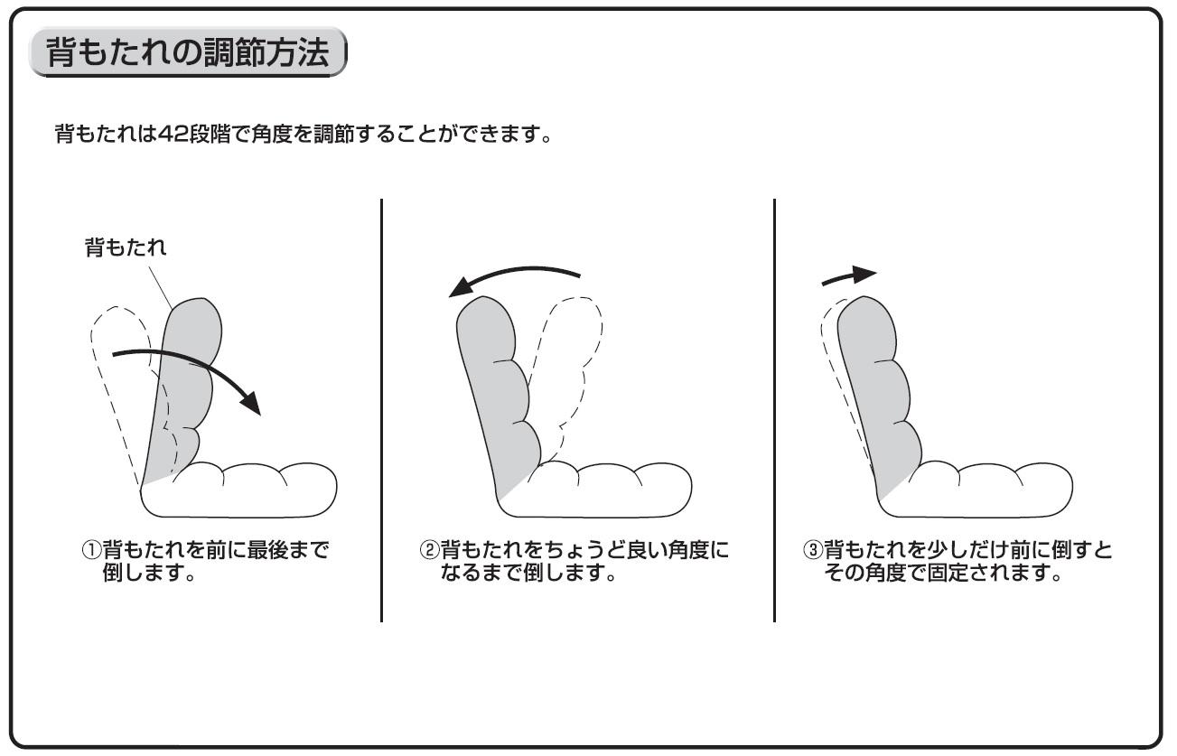 座椅子 100-SNC041の背もたれの調節方法