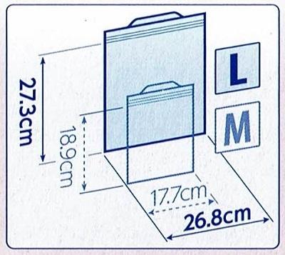 ジップロック ストックバッグの寸法図