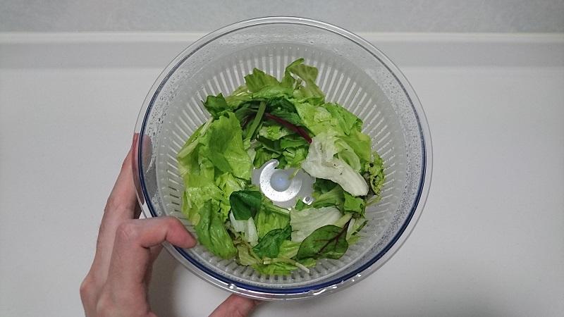 Petit chef Jr C-750 サラダスピナーにより、水気が取れた野菜の様子