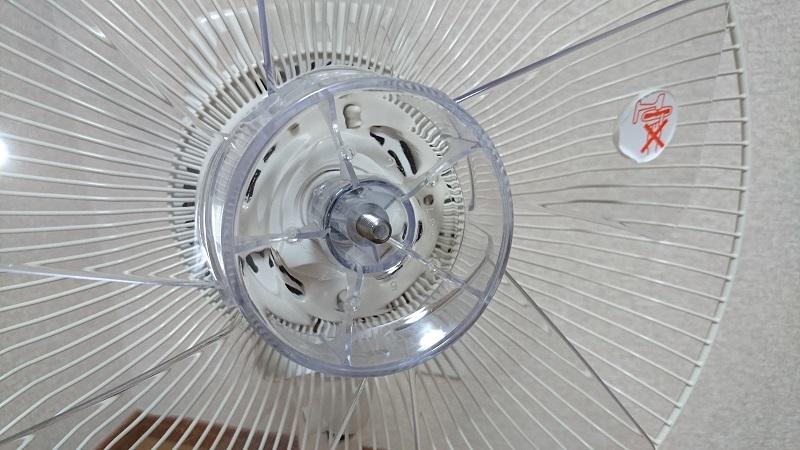 扇風機のファンの中心部にある手回しネジを外した状態