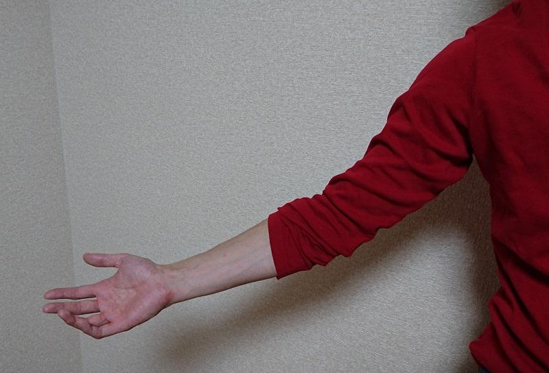 赤い長袖を腕まくりしている左腕