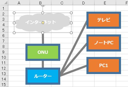 Excelの画像オブジェクトを1つ選択状態としている様子