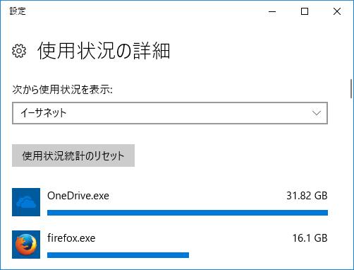 Windows 10のデータ使用状況の詳細表示画面