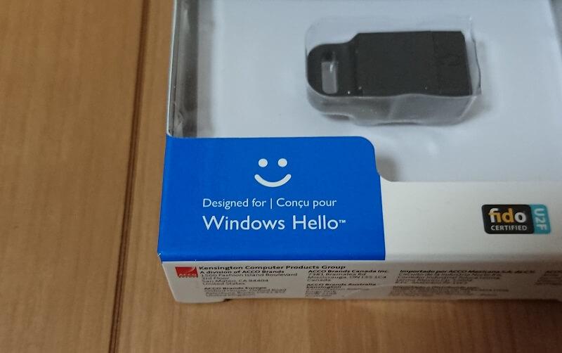 ケンジントン 指紋リーダー K67977JPのパッケージ左下にあるWindows Helloのマーク
