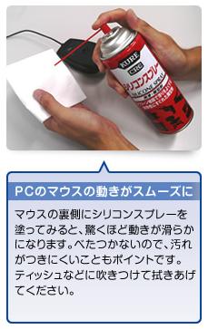 呉工業株式会社が商品紹介ページに掲載しているシリコンスプレーの用途の一部