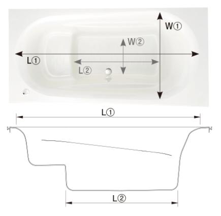 段(ステップ)があるタイプの浴槽の形状図