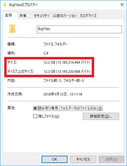 フォルダーのプロパティ画面上の『サイズ』と『ディスク上のサイズ』に12.2GBと表示されている様子