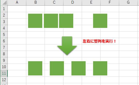 Excelで複数の図形に対し、左右に整列機能を使用した様子