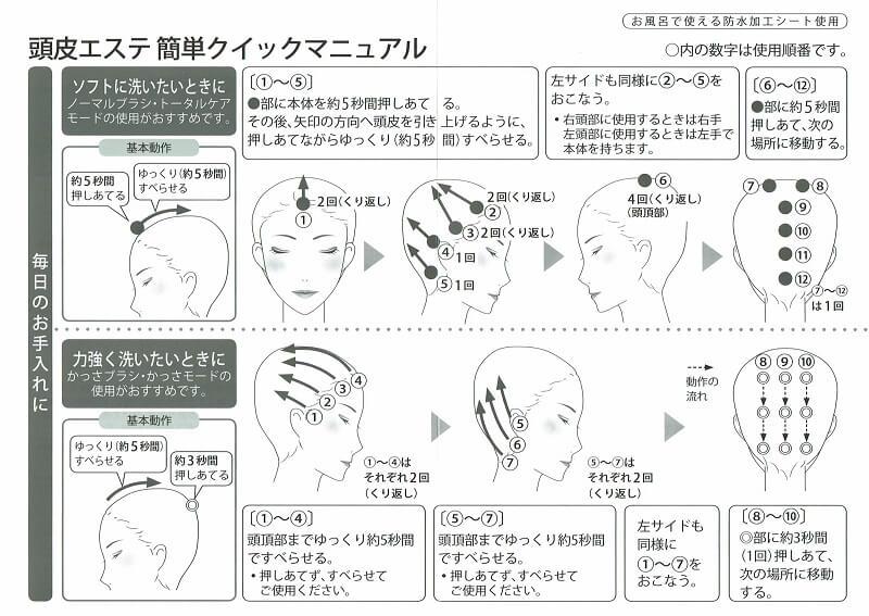 パナソニックの頭皮エステブラシ EH-HE98-RPのクイックマニュアルの内容