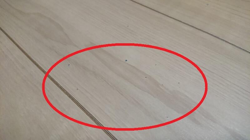 黒い点状の汚れが付着しているフローリングの様子