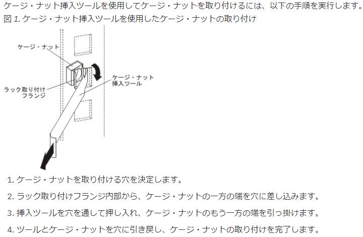 ケージナットツールを使用してケージナットを取り付ける方法を示した図
