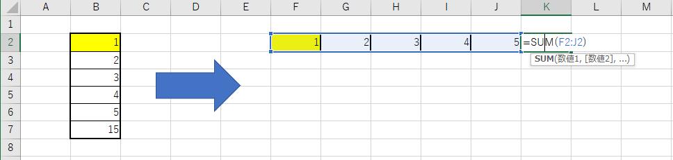 Excelのコンテキストメニュー上の『行列を入れ替える』ボタンを実行後の数式の様子