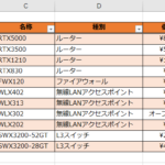Excelの『テーブルとして書式設定』機能により、表の背景色を行方向に、しましま模様に設定した状態